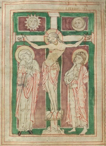 Crucifixion with sun and moon.